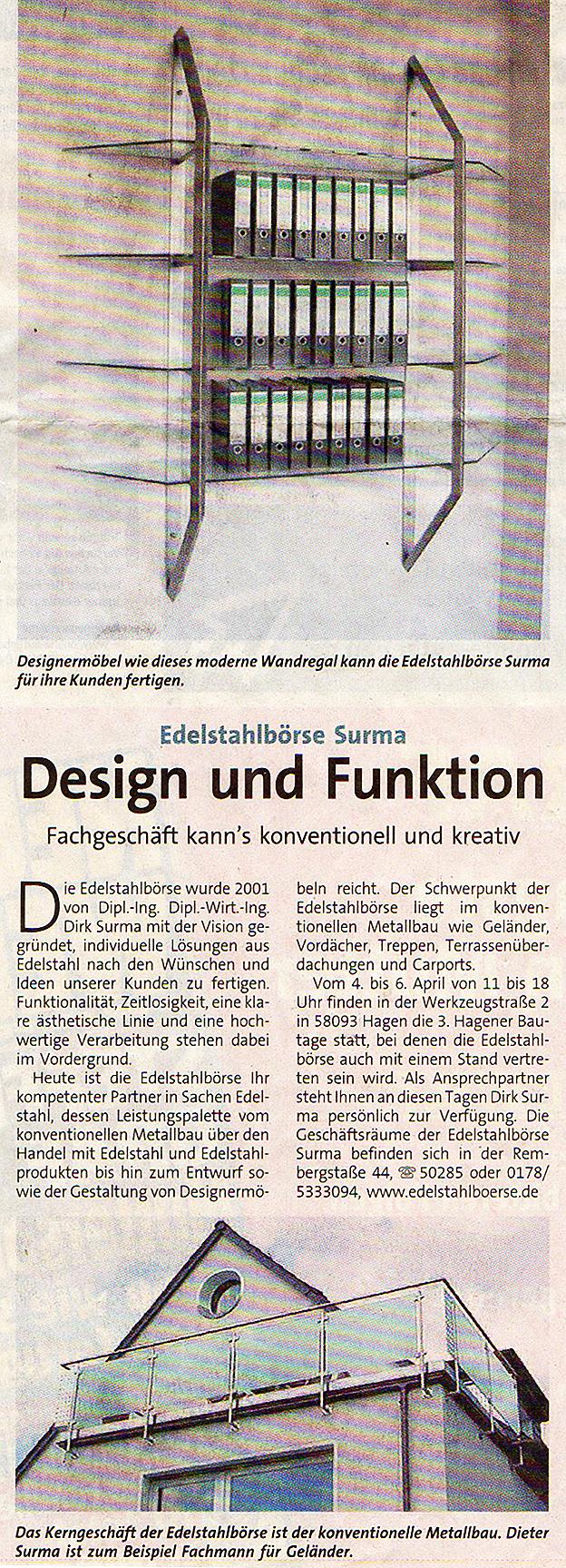 Edelstahlb rse schlosserei und metallbau in hagen nrw for Design und funktion